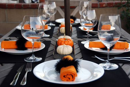 Halloween Dinner Table Setting.Halloween Party Table Elegant Events